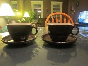 TWO LARGE HOT CHOCOLATE CUP & SAUCER, 4- SNOWMAN PLATES