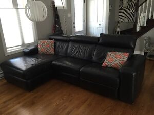 Mobilia Black all leather sectional couch with recliner chair