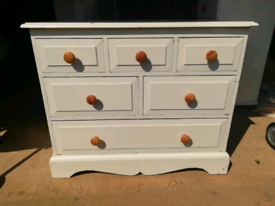 Solid pine chest of drawers. White