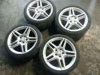 "Mercedes benz 18"" amg alloys with tyres c e class w204 wheels"