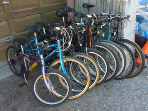 Used bicycles  and parts of various types and sizes for adults,