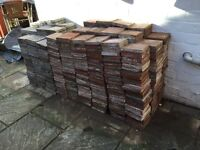 Red and black reclaimed quarry tiles