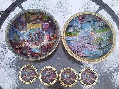 Ken Haag Bicentennial Patriotic Large Metal Snack Bowls And Drink Coasters - Patriotic Snacks