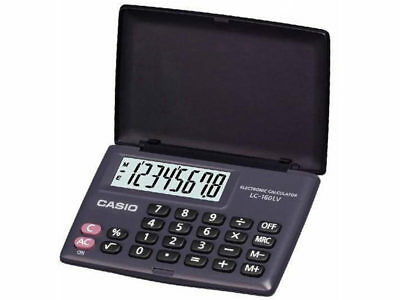 New Casio LC-160LV-BK POCKET Electronic Calculator 8-Digit LARGE LCD BLACK BLACK
