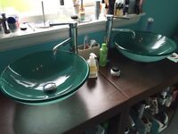 2x Glass Bowl Bathroom Sinks