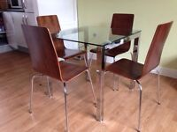 Glass Table & 4 Wooden Chairs