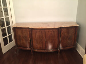 Antique French buffet sideboard burled wood and marble top