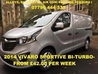 £180.39 PER MONTH 2014 VAUXHALL VIVARO 1.6CDTi BiTurbo SPORTIVE 2700 NEW SHAPE
