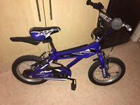 "Kids bike 14"" blue bmx style"