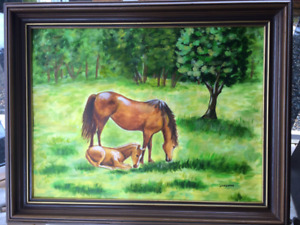 Horse mare and colt, Original Acrylic painting