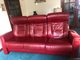 3 Seater Red Leather Manual Recliner
