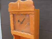 """NICE"" PINE CLOCK SHELF STAND, CLOCK WORKS"