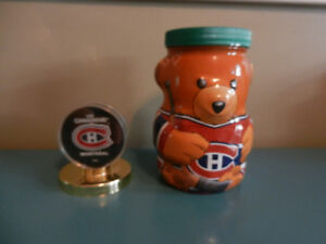 Montreal Canadiens Kraft Peanut Butter Bank Jar and New Puck Lot