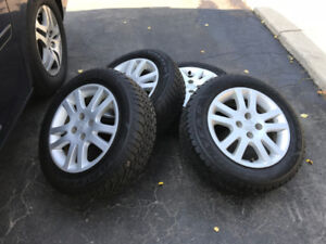 2005,Honda Civic Alloy Rims With Winter Tires 185/65/R15