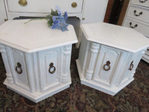 Awesome Pair of Vintage Octagon Chunky Side or Night Tables