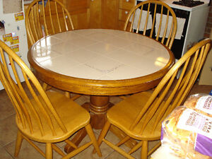 Charming White Tile-Top Dining Set, Table With 4 Windsor Chairs