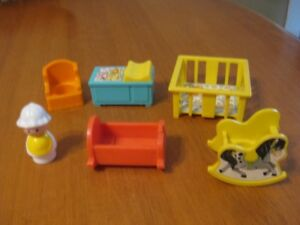 VINTAGE FISHER PRICE LITTLE PEOPLE BABY ACCESSORIES AND BABY