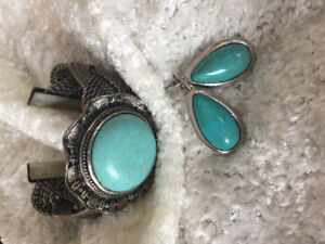 Turquoise bangle and earring set