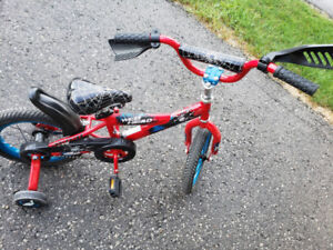 "Spider man 14"" inch bike with training wheels"