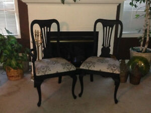 Wood Refinished Black and Upholstered 6 Dinning chairs & Bench
