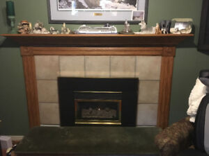 Solid Oak Mantel / Shelf & tile surround