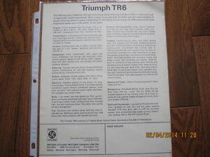 Triumph TR6 Spec Sheet Sarnia Sarnia Area image 2