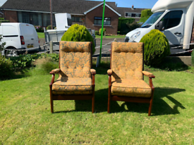 2 Parker knoll high back armchairs £99 the pair £60 each