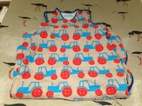 Gro Bag 2.5 tog 18-36 months. Anorak tractor design. Blue and orange. VGC