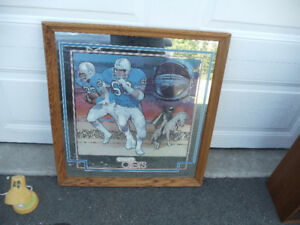 "Houston Oilers Football Wood Framed Mirror (26""x23"" Mirror Only)"