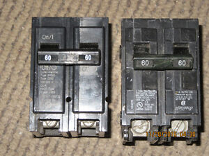 2 - 60A 2 Pole breakers for sale