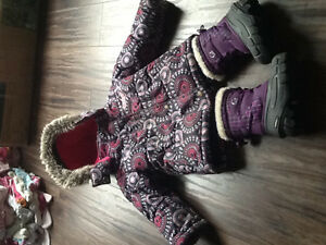 2t winter jacket and pair of boots size 8