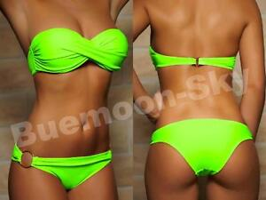Sexy Twist Push Up Bandeau Bikini Damen Pushup Badeanzug Gr. XS S M L 34-40 NEU