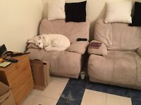 Free to anyone but must collect, Large Sofa and two Chair's one which is an Electric Recliner