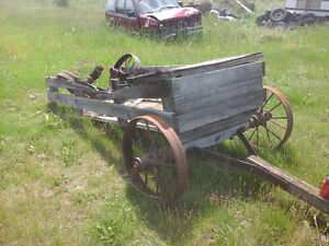 Antique hay wagon with steel wheels
