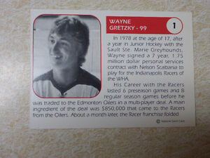 Wayne Gretzky Indianapolis  Racers card Cambridge Kitchener Area image 2