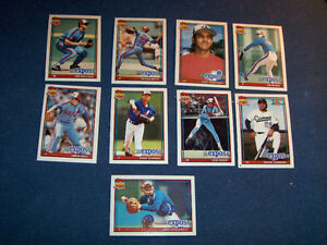 1991 TOPPS BASEBALL CARDS-LOT OF 9-MONTREAL EXPOS-VINTAGE