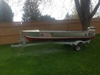 16 ft aluminum boat with motor and trailer