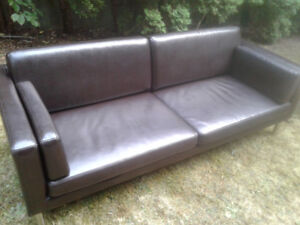 Dark Brown Leather Couch - $75