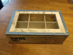 Small Rustic Wood Crate Box With Metal Rim and Glass Window Top