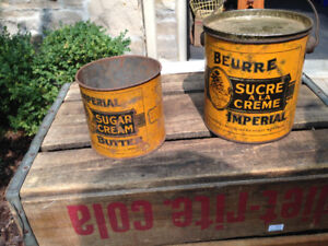 2 VINTAGE 1950s IMPERIAL SUGAR CREAM BUTTER TINS 4.5 LBS & 2 LBS