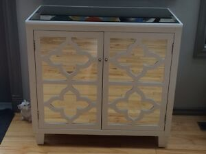 Geometric Cut-out Cabinet with Mirrored Doors