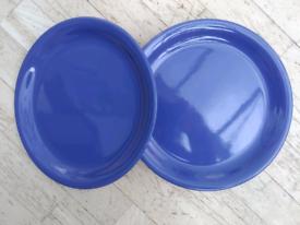6 BLUE DINNER PLATES