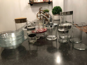 40 Glass Containers/Bowls/Glasses, Etc.