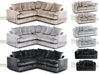 *14-DAY MONEY BACK GUARANTEE** Elaine Luxury Crushed Velvet Corner Sofa or 3 and 2 SAME DAY DELIVERY
