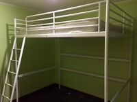 Loft double bed frame with mattress
