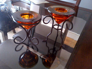 Amber Glass candle holders