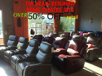 LEATHER RECLINING THEATER SETS  ! BRAND NEW ! 50% OFF!