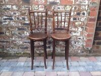Pair of Antique Tall Bentwood Chair/Stools - VGC - CAN DELIVER