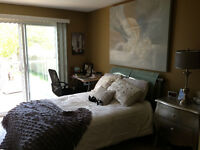 Master bedroom with sliding door onto deck with hot tub Mar 1