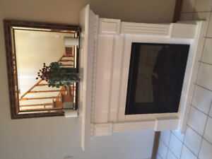 Electric fireplace. 1) Air purifier 2) Gives off heat 3) Light